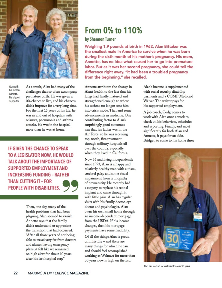 A magazine article from the GCDD Making a Difference quarterly